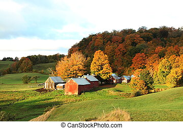 The Jenny Farm in Vermont during the autumn.