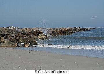 The Jetty Breakwater on Fernandina Beach, Fort Clinch State Park, Nassau County, Florida USA