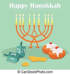 The Jewish holiday of Hanukkah, icons. Vector. - The Jewish...