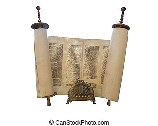 The Jewish Torah scroll and a gold menorah candle support...