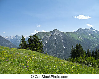 "the, ""joechelspitze"", 在中, the, lechtal, 阿尔卑斯山脉, tirol, 奥地利"