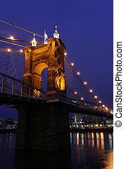 The John A. Roebling Suspension Bridge in Cincinnati.