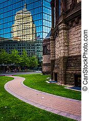 The John Hancock Building and Trinity Church in Boston, Massachu