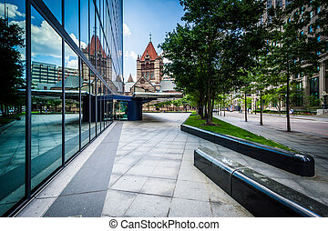 The John Hancock Tower and Trinity Church, at Copley Square,...