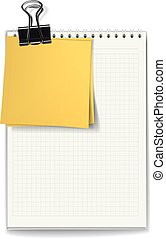 The jotter and stickers fastened by a binder clip - The...