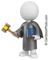 Dude the Judge holding Law book and hammer.