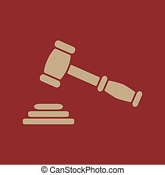 The judge or auction hammer icon. Justice symbol. Flat...