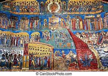 """the judgment day"" fresco on western wall of Voronet..."