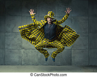 The jump of an amazing creative man. Beautiful and symmetrical