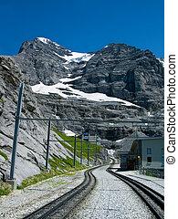 The Jungfraubahn railway to Eiger mountain, Switzerland, highest train from Europe