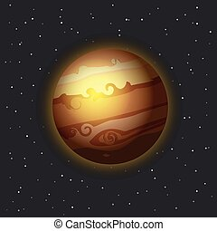 The Jupiter in space vector illustration