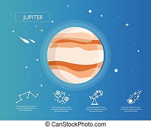 The Jupiter infographic in universe concept.