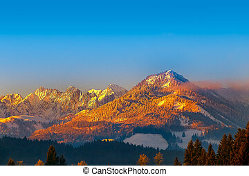 The Kaiser mountains in the alps of Tyrol, Austria, at...