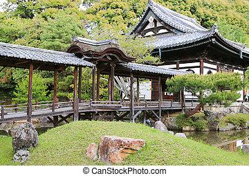 The Kangetsu-dai bridge in the garden at Kodaiji Temple in...