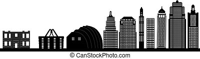 the kansas city skyline in america with high buildings modern and old in black and white illustration