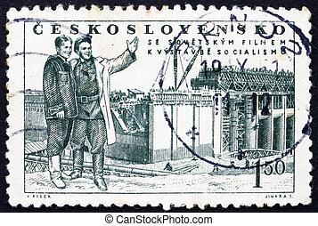'the, karlovy, grand, citizen', festival, timbre, tchécoslovaquie, -, scène, 1951:, varier, 1951, imprimé, international, environ, pellicule, spectacles