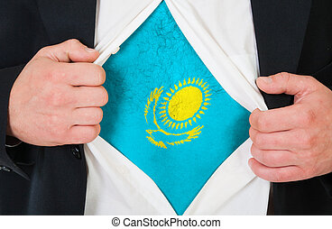 The Kazakh flag painted on the chest of a man