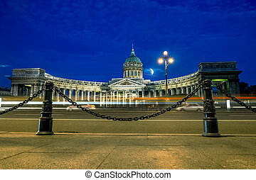The Kazan Cathedral in St. Petersburg at night illumination