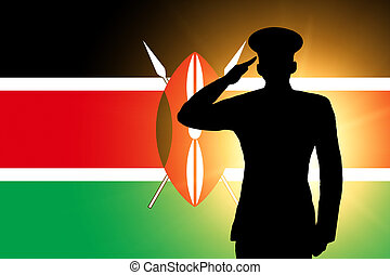 The Kenyan flag and the silhouette of a soldier's military...