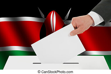 The Kenyan flag and the hand with the bulletin about the...