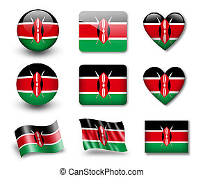 The Kenyan flag - set of icons and flags. glossy and matte...