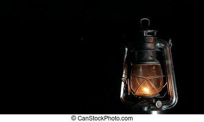 the kerosene shines lamp at the night
