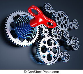 The Key of Power and Energy - Set of gears interconnected ...