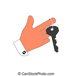 The key to the door or the lock on his finger. Isolation on a white background. Vector illustration.