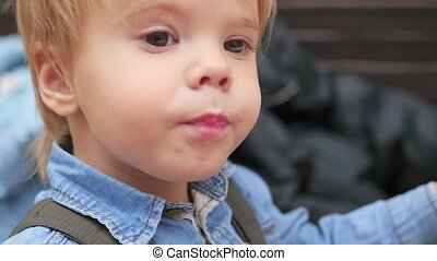 the kid eats a fried potato at a fast food restaurant closeup