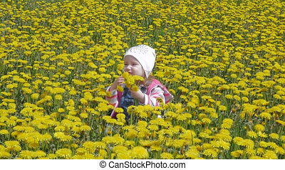 The kid laughs, rejoices sitting in a beautiful park on the lawn. Field of dandelions. A beautiful, little girl sends an air kiss. Slow motion