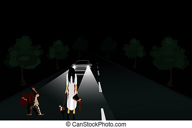 The killer in white, Right hand holding an ax, left hand carrying a person's head ,There was a man's body cut on the road. Cars stopped on the road, turn on the headlights, black background