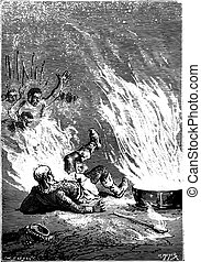 The king had caught fire like an oil tank, vintage engraved illustration.