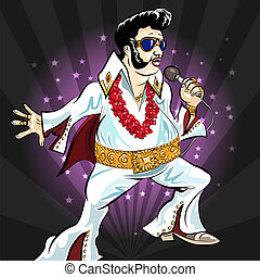 Illustration with singing Elvis Presley drawn in cartoon style