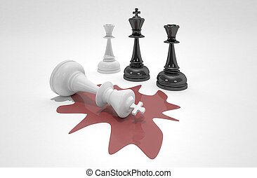 White chess king laying dead in blood