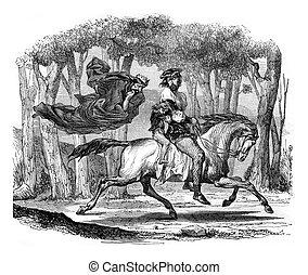 The king of alders, vintage engraving.