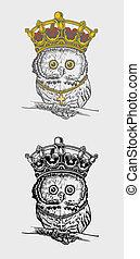 The king owl illustration vector