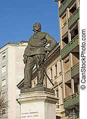 Standing statue of first Italian king Vittorio Emanuele II di Savoia in town of Acqui Terme (Piedmont)