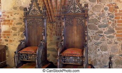 The kings chair displayed inside the old castle in Trakai