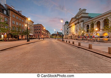The kingsroad at sunrise in Warsaw, Poland