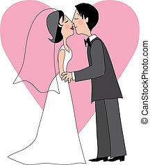 The Kiss - A Bride and Groom Kissing with a heart in the ...