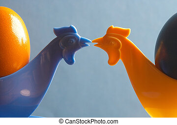 the kiss - two chicken- eggcups kissing each other - zwei...