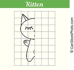 The kitten is sleeping. Grid copy the picture for children. Illustration of a simple coloring book. Easy game for learning kids. Vector Cute animal cat for educational drawing.