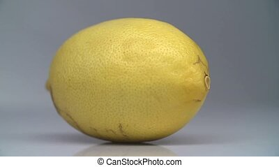 The knife cuts a whole lemon in half.