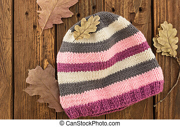 The knitted colorful cap