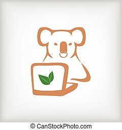 The koala with a laptop on gray background