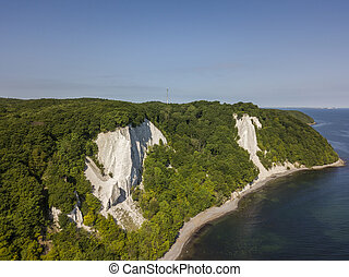 The Koenigsstuhl or Kings Chair, the best-known chalk cliff in the Jasmund National Park, Germany