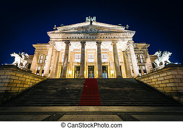 The Konzerthaus Berlin at night, at Gendarmenmarkt, in Berlin, Germany.