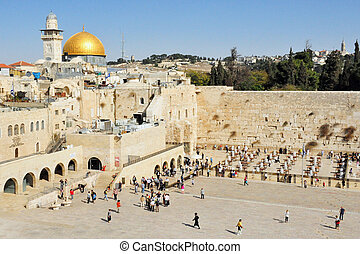 JERUSALEM - NOV 05: The Western Wall and Temple Mount on November 05 2011 in Jerusalem, Israel. It's the most sacred site recognized by the Jewish faith outside of the Temple Mount itself.