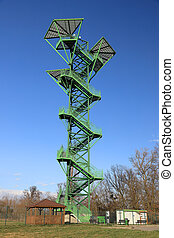 The Kotowice observation tower is located just off the bank of the Oder and is 40 meters high. The structure was built in 2012, Wroclaw, Poland, Europe.