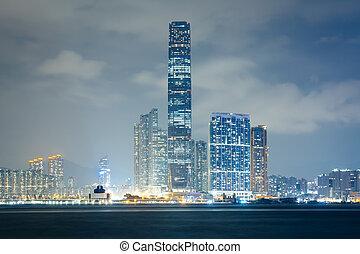 The Kowloon skyline at night, seen from Sheung Wan, in Hong Kong, Hong Kong.
